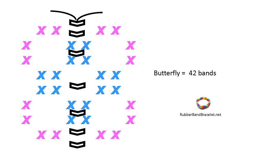 Butterfly Loom Band Charm Pattern
